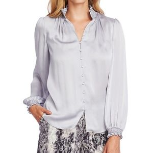 Vince Camuto Texture Smocked Trim Top